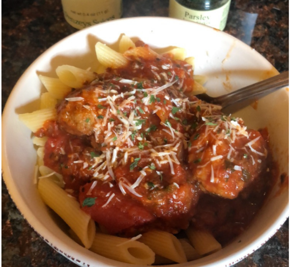 Penne Rigati and Meatballs